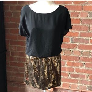 NWT EXPRESS Black and gold sequin dress